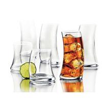 Juego O Set De 16 Vasos De Vidrio Chuecos Crisa Libbey