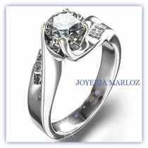 Anillo Compromiso Oro Blanco 14kt .50ct De Diamante