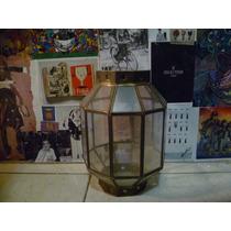 Farol Retro Fabricado En Laton Y Vidrio (tiene Detalles)