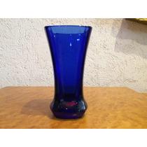 Florero En Cristal Azul Cobalto Made In France