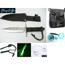 Kit De Supervivencia 19 Pz Cuchillo Pedernal Sierra Piernera