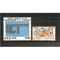 1983 Mex Comunicaciones Trasportes Año Mundial 2 Sellos Mnh