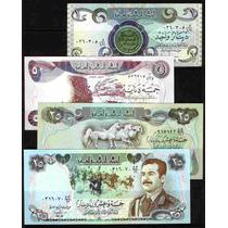 Coleccion De 4 Billetes De Iraq Antes De La Guerra Del Golfo