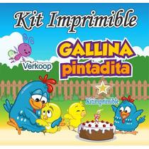 Kit Imprimible Gallina Pintadita + Candy Bar Fiesta