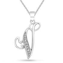 Collar Bling Jewelry Alfabeto Inicial V Cursiva Plata
