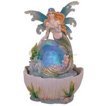 Fuente De Agua De Hada Sirena Con Luces Y Esfera De Cristal