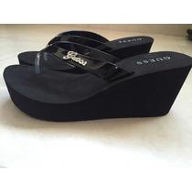 Zapato Guess 8 25 Sandalia Negra Wedge Cristales Swuarovsky