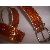 Bonito Cinturon Con Diamantina, Naranja, Mediano