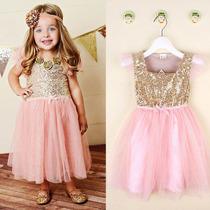 Vestido Tutu Niña Princesa Fiestas Boda Rosa Lentejuela Gold