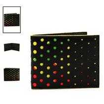 Hot Topic Cartera Rasta Black Perforated Holes Wallet