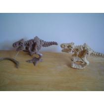 2 Esqueletos De Dinosaurios Mide 14 Cms