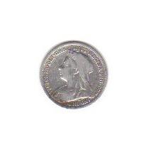 3 Pence Gran Bretaña 1900 Moneda Plata Reina Victoria - Hm4