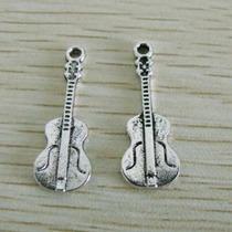 5 Dijes, Colgantes De Guitarra O Violín Plata Tibetana.