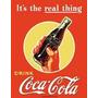 Poster Metalico Litografia Coca Cola Real Thing Vintage Retr