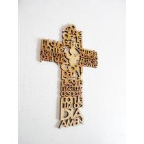 Cruz 15cm Angel Guarda Con Imagen Central Angel Recuerdo Mdf