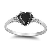 Elija Su Color Sterling Promise Ring Cz Corazón De La Plata