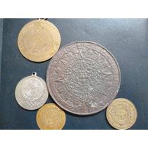 Lote De 5 Medallas Calendario Azteca Op4