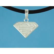 Dije Superman Fina Plata 925 Con Caucho 50 Cm A9-2