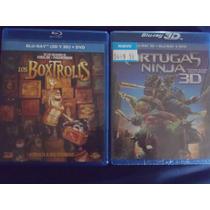 Blu-ray 3d Boxtrolls Y Tortugas Ninja 2x1 Nuevos