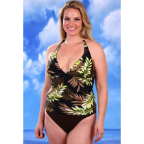Traje De Baño Tipo Tankini Color Chocolate Con Estampado