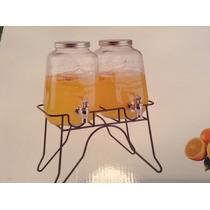 Dispensador De Agua Jugos Alcohol 2 Pzas Con Base Metálica
