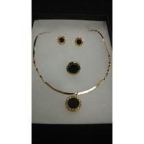 Set Collar, Aretes Y Anillo Búlgari Style Oro Y Negro