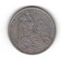 1/2 Sol 1923 Plata Perú Moneda Libertad América Del Sur Hm4