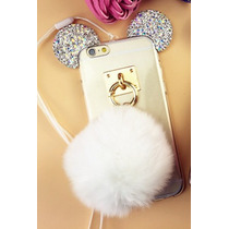 Funda Iphone 6 6s Orejas Mouse Con Cola Bola Conejo Brillos