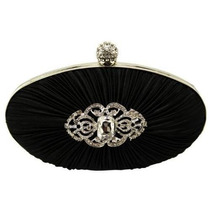 Bolsa Negro Satinado Rouched Cristal Oval Tarde Del Embragu