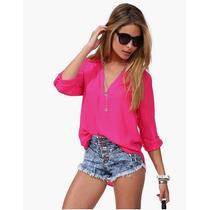 Maravillosa Blusa Importada Rosa, Estilo Casual Cuello V