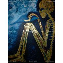 Layla La Vida Y La Muerte *pintura Original Azul Blanco Oro