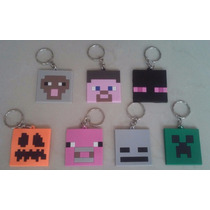 Set Llaveros Minecraft Steve Oveja Cerdo Enderman Creeper