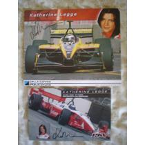 Katherine Legge 2 Fotos Autografiada Piloto Serie Champ Car