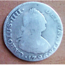 2 Reales 1796 Plata Perú Virreinato Rey Carlos Illl Maa
