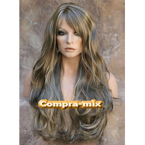 Peluca Super Natural Larga Color Castaño Platinado, Daa