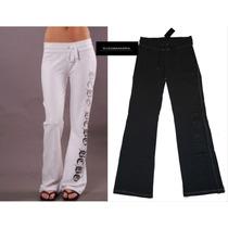Pants Bcbg L Grande Pantalon Gris Logo Plata Original Mujer!