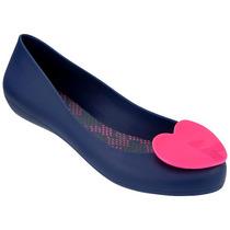 Mel Pop Heart Zapato Flat Dama Balerina Azul Mel By Melissa