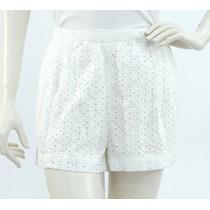Shorts Blancos, Tejido Algodón Orgánico, Perforado En Flor