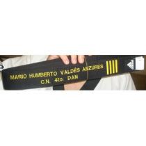 Cinta Negra/poom Adidas 5cm. Bordada Con Nombre Y Grado Rgl