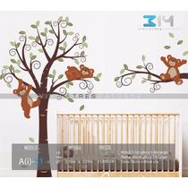 Vinilo Decorativo Árbol Infantil 51 Osos. Calcomanía Bebé.