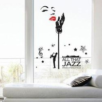 Ps58187 Musico Jazz Art Deco Calcomania Para Pared