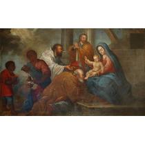 Adoracion De Los Reyes Magos Pintura Oleo Colonial Sxviii