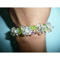Hermosa Pulsera De Moda Fantasia Cuarzo Y Cristales Colores