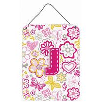 Letra J Flores Y Mariposas Pared De Color Rosa O Puerta Colg