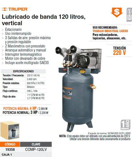 Compresor de aire lubricado 3hp de 120l vertical 7345 - Precio compresor de aire ...