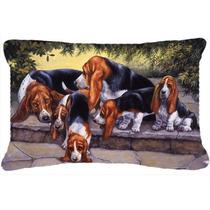 Los Cachorros De Basset Hound, Mamá Y Papá Tela Almohada D