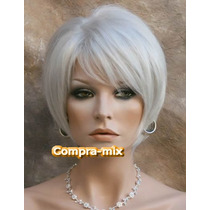 Peluca Super Natural Corta Color Rubia Plata, Vjr