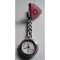 Reloj De Enfermera Colgante Metálico Color Rosa De Colección