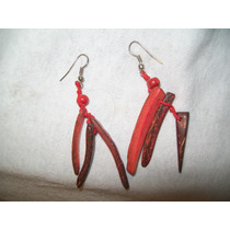 Gcg Aretes De Coco Palitos Color Rojo Y Cafe Bfn