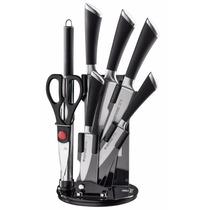 Cuchillos De Cocina Herzog Estante C/ 8 Pzas Negro
